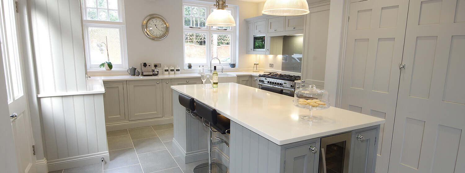 Sprayed Champagne & Stone Grey White Island Worktop kent