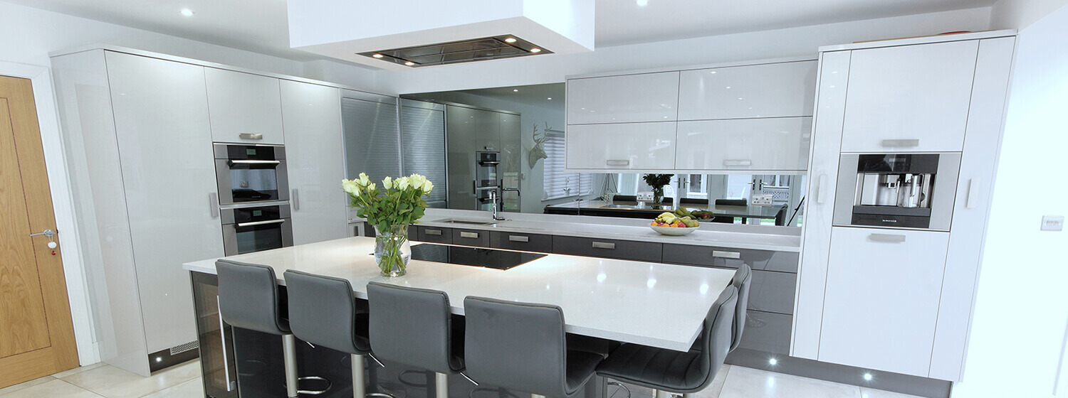 High Gloss Dark Grey & White Flat Door Kitchen kent