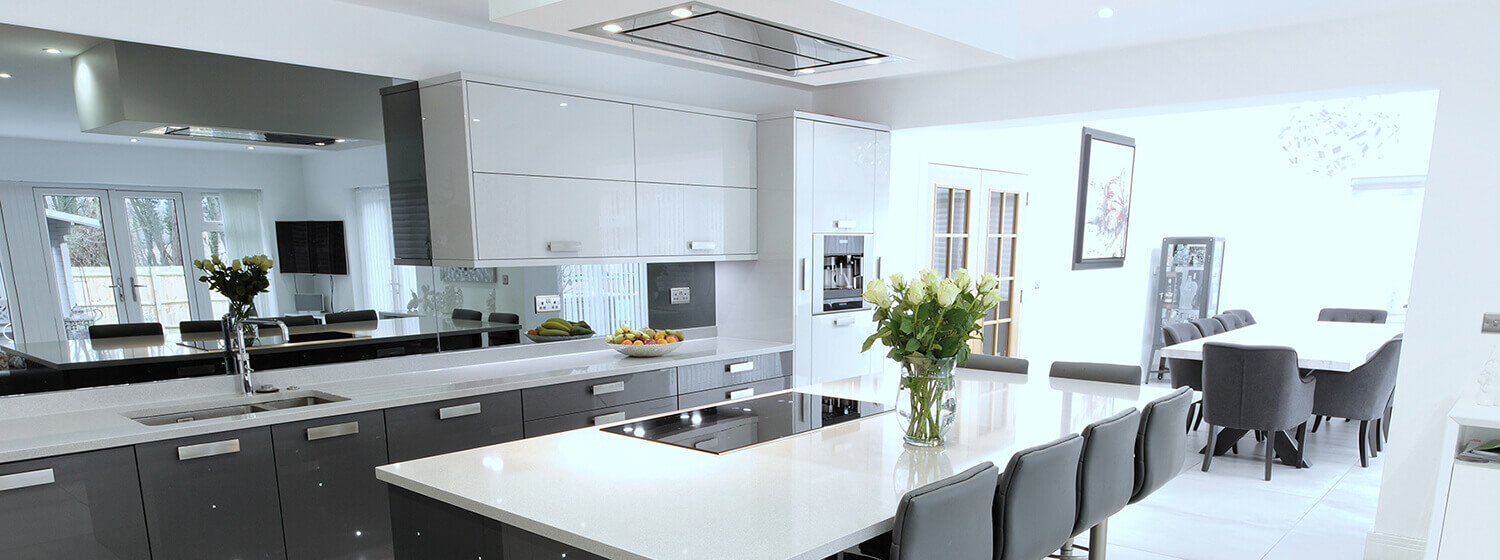 Dark Grey & White Flat Bar Handle Kitchen Kent