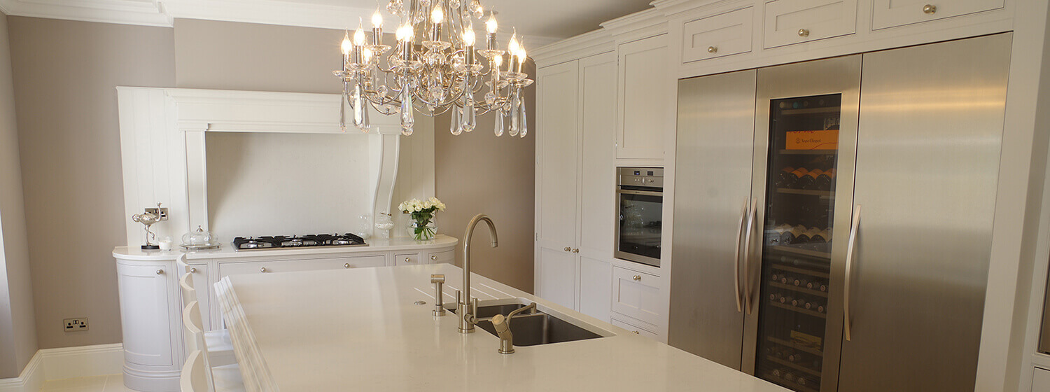 White Traditional Large Open Plan Shaker Kitchen Kent