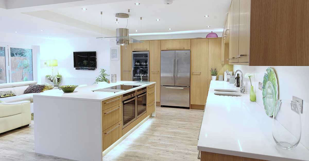 bespoke fitted oak flat door contemporary kitchen Seal