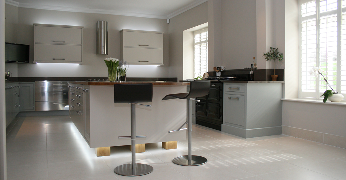 Handpainted Duck Egg and Alpine White Kitchen Kent