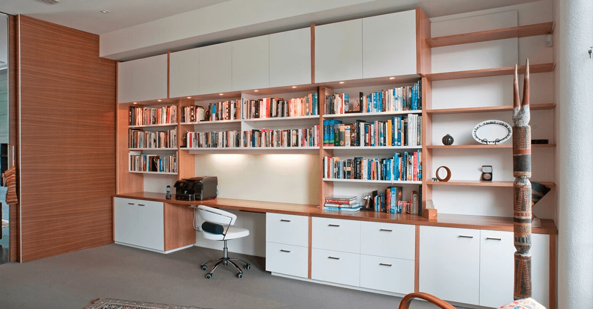 white modern handleless study Sidcup