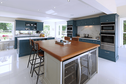 Ichira blue & cornforth white kitchen Hawkhurst Kent