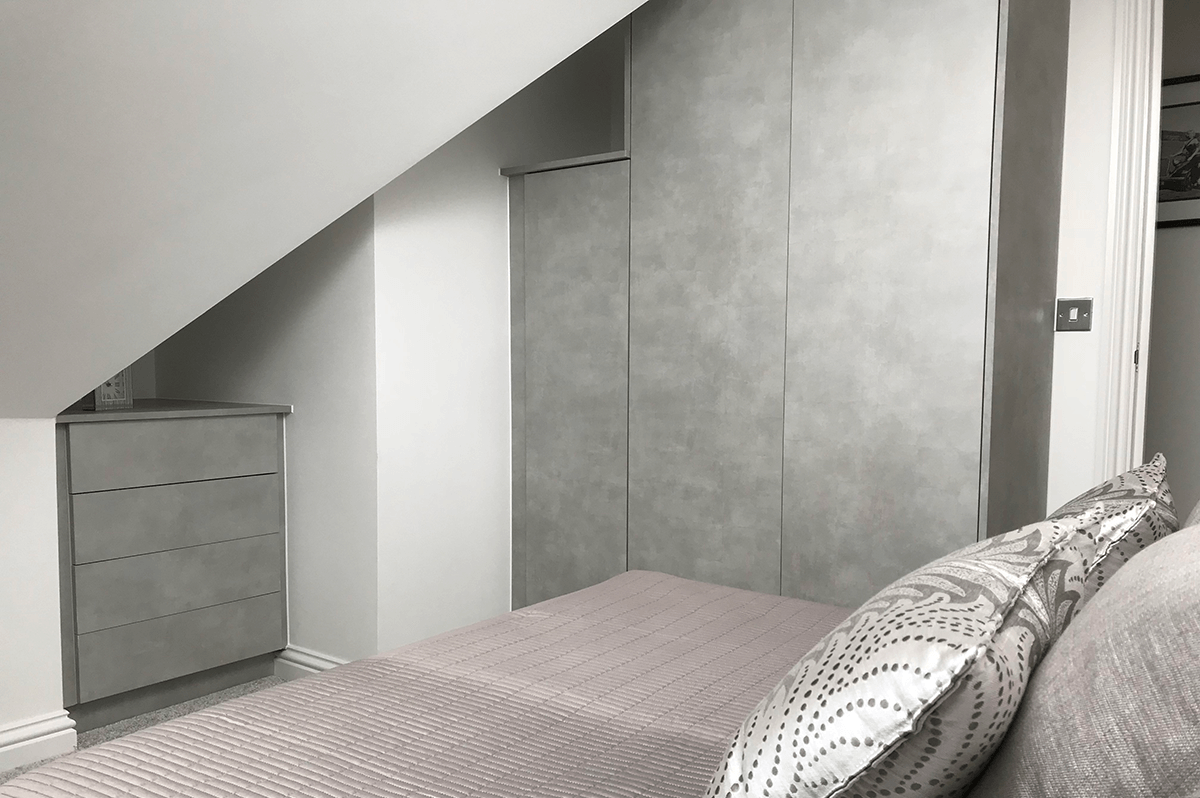 light grey modern handless bedroom Gravesend Kent